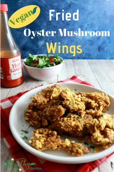 """Vegan Fried Mushroom Wings - Craving those fried chicken wings from before you went plant-based? This vegan fried mushroom recipe uses oyster mushrooms as the """"wings. Vegan Fried Chicken, Fried Chicken Wings, Roasted Chicken, Fried Mushrooms, Stuffed Mushrooms, Fried Oyster Mushroom Recipe, Vegan Wings, Vegan Fries, Fried Oysters"""