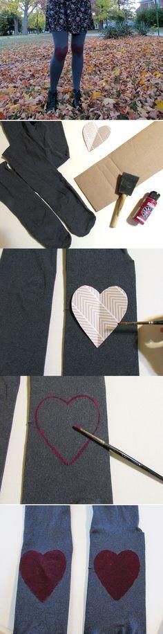 DIY Heart Knee Tights