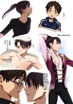 yuri! on ice - attack on titan victor - levi yuri - eren
