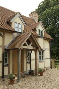 porch oak pillars cottage - Google Search Front Door Canopy, Porch Canopy, Front Doors, Porch Oak, Porch Doors, Oak Framed Buildings, Timber Buildings, Roof Design, House Design