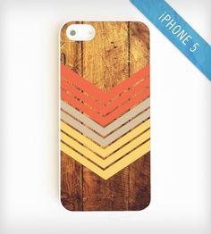 Faux Wood Geometric iPhone 5 Case - Nectarine