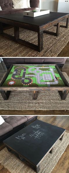 Erin of @Hardy Home Reno shows you how to create a coffee table with a concealable play station for the kids and a chalkboard top to write on.