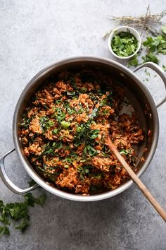 Vegan Jambalaya Recipe with Brown Rice, Black Eyed Peas and Collards Vegetarian Jambalaya, Brown Rice Recipes, Vegetarian Recipes, Healthy Recipes, Donut Recipes, Fodmap Recipes, Vegan Dinners, Clean Eating Recipes, Black Eyed