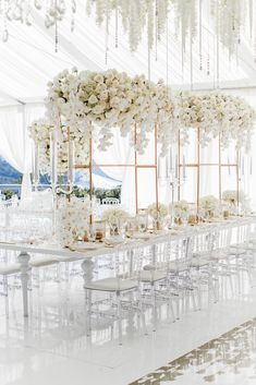 A spectacular summer private estate wedding in Los Gatos, CA for Sara & Jamal with an all-white color palette, white wedding florals, and decor designed by Eddie Zaratsian Lifestyle and Design. Photo by Katie Beverley Photographer. All White Wedding, White Wedding Flowers, Elegant Wedding, Floral Wedding, All White Party, White Wedding Decorations, Luxury Wedding Decor, Wedding Centerpieces, Marquee Wedding