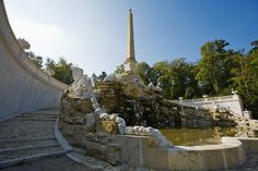 The Obelisk Fountain at the foot of the Schönbrunn Hill is crowned with an obelisk. Find out more on a virtual tour through the Palace Park. Obelisk, Things To Know, Stairways, Statue Of Liberty, Fountain, Europe, Tours, Outdoor Decor, Vienna Austria
