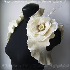 Wedding Bridal Bolero Shrug Pearls Cameo BroochCorsage by TianaCHE, $240.00