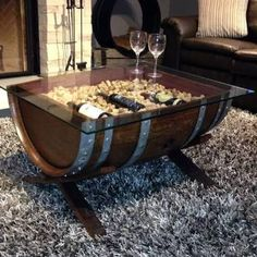 Image result for wine barrel coffee end tables
