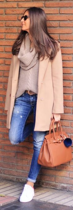 Fall / Winter - street chic style - cozy style - nude coat + oversized nude turtleneck sweater + brown belt + cropped distressed denim skinnies + white sneakers + black sunglasses + brown handbag