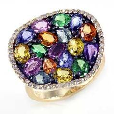 EFFY™ Collection Multi-Color Sapphire, Tsavorite and 1/5 CT. T.W. Diamond Ring in 14K Gold