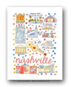 Nashville, TN Map Print by Evelyn Henson Nashville Map, Evelyn Henson, City Drawing, Fine Art Prints, Framed Prints, Travel Illustration, Gsm Paper, Journal Cards, Journal Ideas