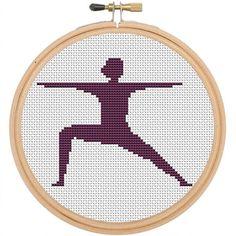 Warrior Yoga Pose Counted Cross Stitch Pattern. Yoga Pattern. PDF Instant Download. Pattern. Art. Yoga Cross Stitch Pattern