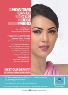 Fine lines, Wrinkles, Lifting, Botox....all your concerns can now be answered at our Day Spa in Vasant Vihar! Meet our Dermat this Saturday, 20th October and get exclusively:    - Free Skin analysis through state of the art A-One Video Dermascope  - Free consultation with our dermatologist  - Free laser patch test    Book your appointment @ 011-26155561/ 2/ 3/ 4!