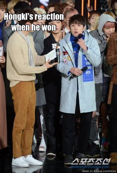 Hongki's reaction when he won | allkpop Meme Center