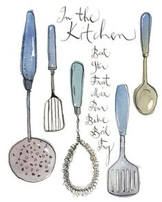 Kitchen utensils illustration, 8X10 art print, Blue kitchen poster, Handwritten home decor, cooking ink drawing print $25 Kitchen