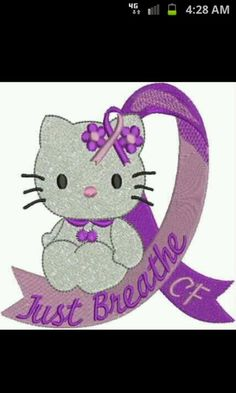 O Kitty Pink Ribbon Embroidery Design By Drusdesigns Marcella Galindo Cystic Fibrosis Awareness