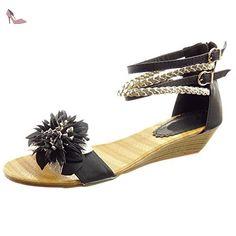 e918edf63e5af Sopily - Chaussure Mode Sandale hauteur cheville femmes Brillant boucle  fleurs Talon compensé 4 CM -
