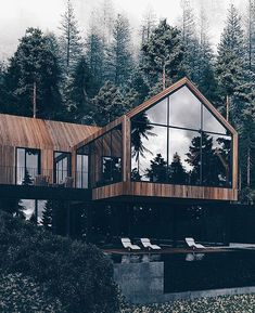 Home Inpiration via Cute Home Decor, Home Decor Signs, Modern Villa Design, Cheap Bedroom Decor, Minimalist Home Interior, Forest House, Architect House, Cabins In The Woods, Cabana
