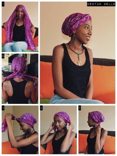 Turban tutorial - Maybe use thicker heavy yarn for hat band/cables and then finer yarn for drape on crown. Scarf Hairstyles, Girl Hairstyles, Turban Tutorial, Head Scarf Tutorial, Hair Wrap Scarf, Hair Scarfs, Curly Hair Styles, Natural Hair Styles, Hair Turban