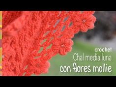 Chal media luna con flores mollie a crochet (Mollie flowers crescent moon shawl: English subtitles)! - YouTube
