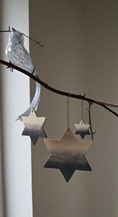 Dip-Dye Holzsterne, Sterne, Baumschmuck,Baumhänger von Ahoj-2012 auf DaWanda.com