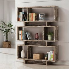 Coaster 3-Tier Salvaged Cabin Bookcase, Silver Finish kind of really like this --not metal but is reclaimed materials and is wide enough---$166 x 2 = $345 for BOTH !!
