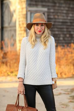 Mixing textures with leather pants and a chunky wool sweater. Brooklyn Blonde