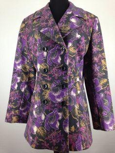 Women's Anne Klein Jacket Med Wool Blend Double Breasted Taylored Purple Floral  | eBay