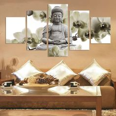 Modern Buddha Canvas Painting 5 Panels Home Decoration Marble Buddha And Banboo Landscape Cuadros Decoracion Modular Pictures-in Painting & photo ideas from Amazing Home Decor Photo Ideas Buddha Canvas, Buddha Wall Art, Buddha Painting, Living Room Pictures, Wall Art Pictures, Rooms Home Decor, Home Wall Decor, Room Decor, Canvas Home