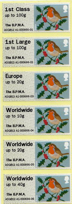 Christmas Robin stamps from the Hytech Post & Go machine which was recently installed in our foyer.