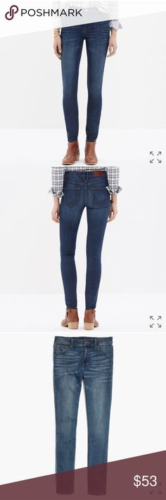 """Madewell High Riser Skinny Jeans in Atlantic Wash PRODUCT DETAILS Our leanest, sexiest fit, with a waist-whittling high rise for a little '70s vibe. Why they're so great: Our special denim has tons of stretch, never bags out and does life-altering things to the rearview.    Sit slightly above hip. Fitted through hip and thigh, with a slim leg. Front rise: 9"""". Inseam: 32."""" Machine wash. Madewell Jeans Skinny"""