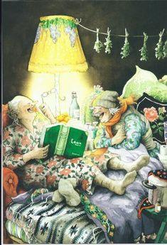 In a small village in Finland lives the world-famous artist-illustrator Inge Löök. Inge Look - pseudonym of the artist, real name Ingeborg Lievonen. Art Magique, Art Fantaisiste, Whimsical Art, Old Women, Old Ladies, Ladies Night, Illustrators, Book Art, Illustration Art
