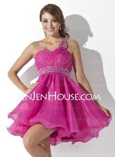 Homecoming Dresses - $138.99 - A-Line/Princess One-Shoulder Short/Mini Satin  Tulle Homecoming Dresses With Ruffle  Beading (022007290) http://jenjenhouse.com/A-line-Princess-One-shoulder-Short-Mini-Satin--Tulle-Homecoming-Dresses-With-Ruffle--Beading-022007290-g7290