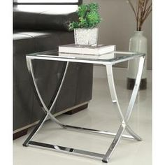 OH Contemporary Chrome Finish Glass Side End Table