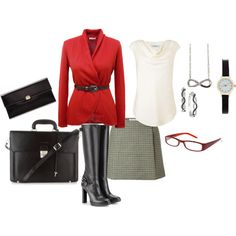 """""""Red Jacket Gray Skirt"""" by mary-kay-simpson on Polyvore"""