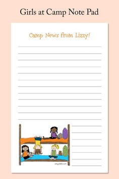 A gaggle of girls sit on their bunk beds at camp on this folded note stationery. Send your girl off to camp with this 53 page note pad and she'll be sure to write you! Camp Stationery, Personalized Stationery, Personalized Gifts, Gifts For Girls, Girl Gifts, Camping Invitations, Spiral Notebooks, Camping Gifts, Calling Cards