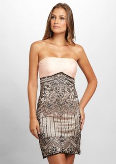 SUE WONG Strapless Lace Overlay Dress