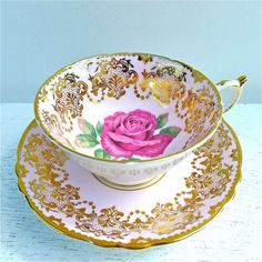 Vintage Paragon Pink Rose with Gold Tea Cup and by twolittleowls, $32.00