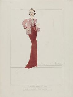 Design for an evening gown of wine crepe and peach silk with beading, embroidery and gemstones