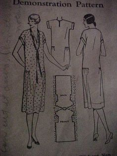 Vintage Original 1920s Pictorial Review Sewing Pattern Dress