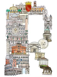 European City Letter R - Rome by Hugo Yushikawa