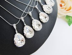 15 OFF SET of 6 Wedding Jewelry Bridesmaid by earringsnation, $126.99