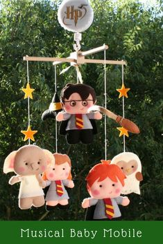 Harry Potter Musical Baby Mobile! This handcrafted nursery mobile is ideal for decorating a baby room! #etsyfinds #babyshowerideas #babygifts #giftideas #harrypotter #harrypotterforever #mobile