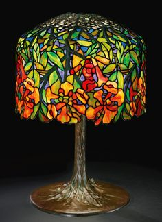 "** Tiffany Studios, New York, Favrile Leaded Glass and Patinated Bronze ""Trumpit Vine"" Lamp.."