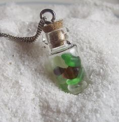 Sea Glass Jewelry - Beach Glass Bottle Necklace - Teenie In A Bottle. , via Etsy.