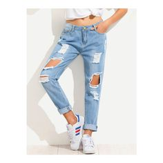 SheIn(sheinside) Blue Distressed Boyfriend Jeans (€19) ❤ liked on Polyvore featuring jeans, blue, destroyed jeans, ripped jeans, white ripped jeans, destructed jeans and blue jeans
