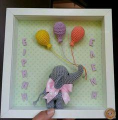 handmade decorative frame with crochet elephant! Crochet Elephant, Crochet Fox, Crochet Gifts, Crochet Animals, Amigurumi Patterns, Crochet Patterns, Frame Crafts, Animal Pillows, Handmade Decorations