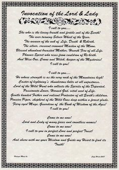 Invocation of The Lord Lady BOS Book of Shadows Page Wiccan Witchcraft CHC | eBay