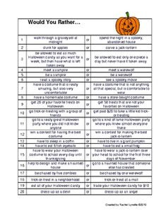 Here is a set of 20 Would you Rather Questions about Halloween. Great for discussion starters, class polls and journal prompts. Thanks for look...