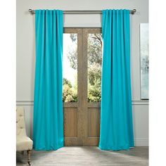 Exclusive Fabrics Aqua Rod Pocket and Back Tab Blackout Curtain Panel... ($75) ❤ liked on Polyvore featuring home, home decor, window treatments, curtains, blue, window panels, window curtains, aqua curtains, aqua window curtains and aqua blue curtains