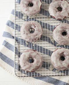 Blackberry Doughnuts with Vanilla Bean Glaze
